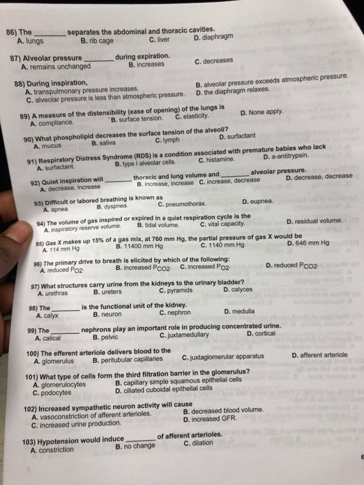 Solved: Final Exam, Anatomy And Physiology II(B102312), Sp