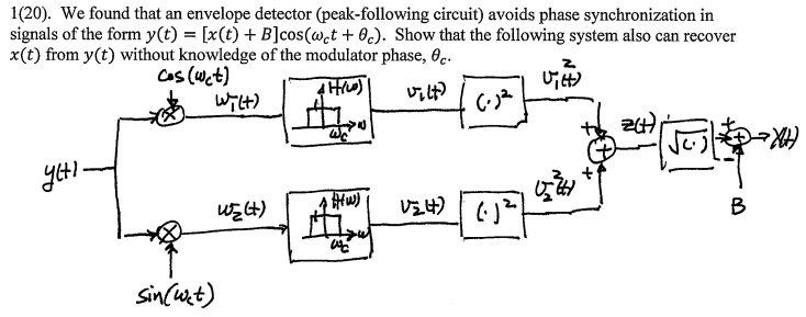 Solved: 1(20)  We Found That An Envelope Detector (peak-fo