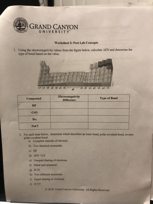 Solved Grand Canyon University Worksheet 2 Post Lab Conc