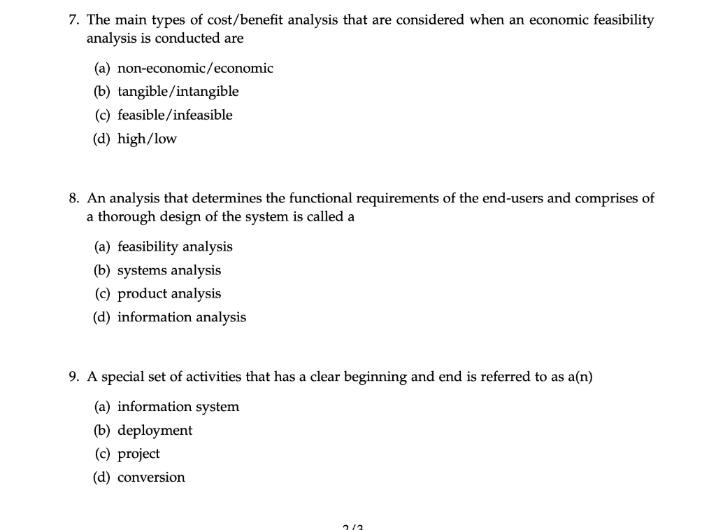 Solved 7 The Main Types Of Cost Benefit Analysis That Ar Chegg Com