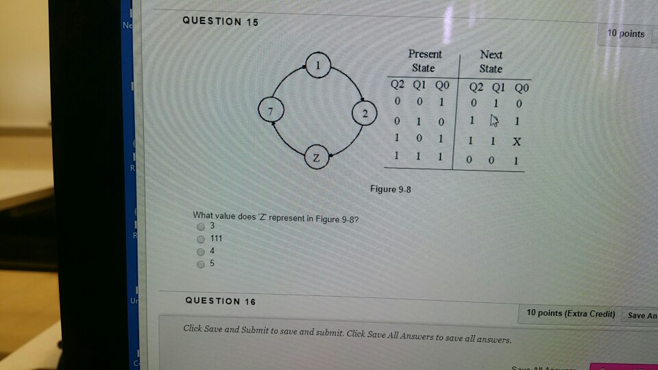 QUESTION 15 10 points Present Next State State Q2 Q1 Q0 Q2 Q1 Q0 1 0 1 1 1 X Figure 9-8 What value does Z represent in Figure 9-8? Ur QUESTION 16 10 points (Extra Credit) Save An Click Save and Submit to save and submit. Click Save All Answers to save all answers.