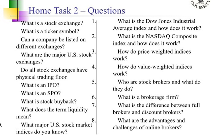 Solved Home Task 2 Questions What Is A Stock Exchange Wh