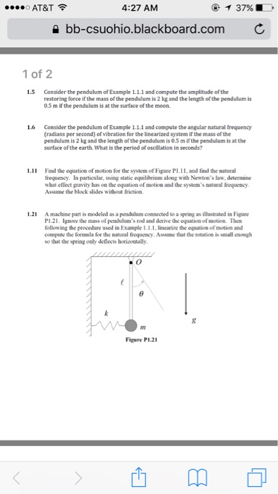 Consider The Pendulum Of Example 1 1 1 And Compute