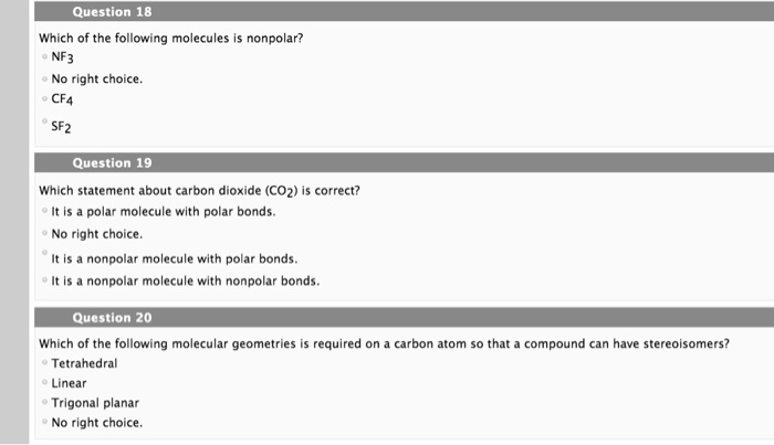 Solved Question 18 Which Of The Following Molecules Is No Chegg Com