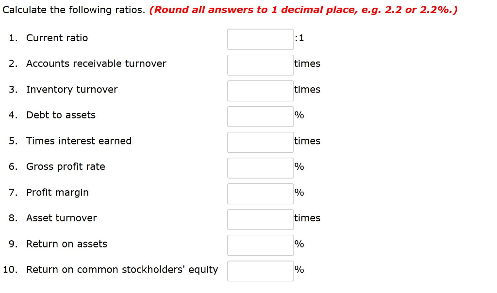 Calculate the following ratios. (Round all answers to 1 decimal place, eg, 2.2 or 2.2%.) 1. Current ratio 2. Accounts receivable turnover 3. Inventory turnover 4. Debt to assets 5. Times interest earned 6. Gross profit rate 7. Profit margin 8. Asset turnover 9. Return on assets times times times times 10. Return on common stockholders equity