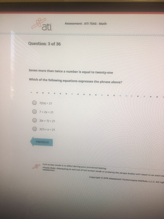 Solved: Assessment: ATI TEAS-Math Question: 1 Of 36 Which