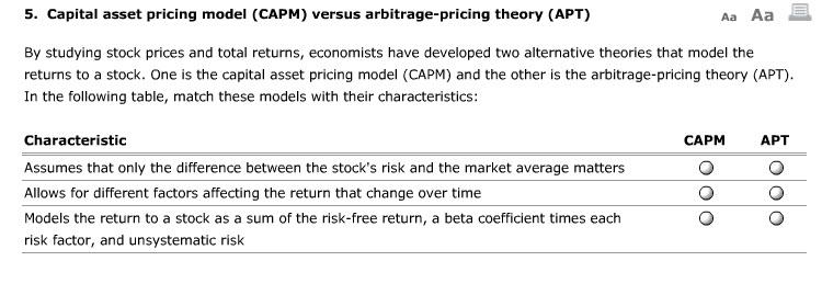5  Capital Asset Pricing Model (CAPM) Versus Arbit