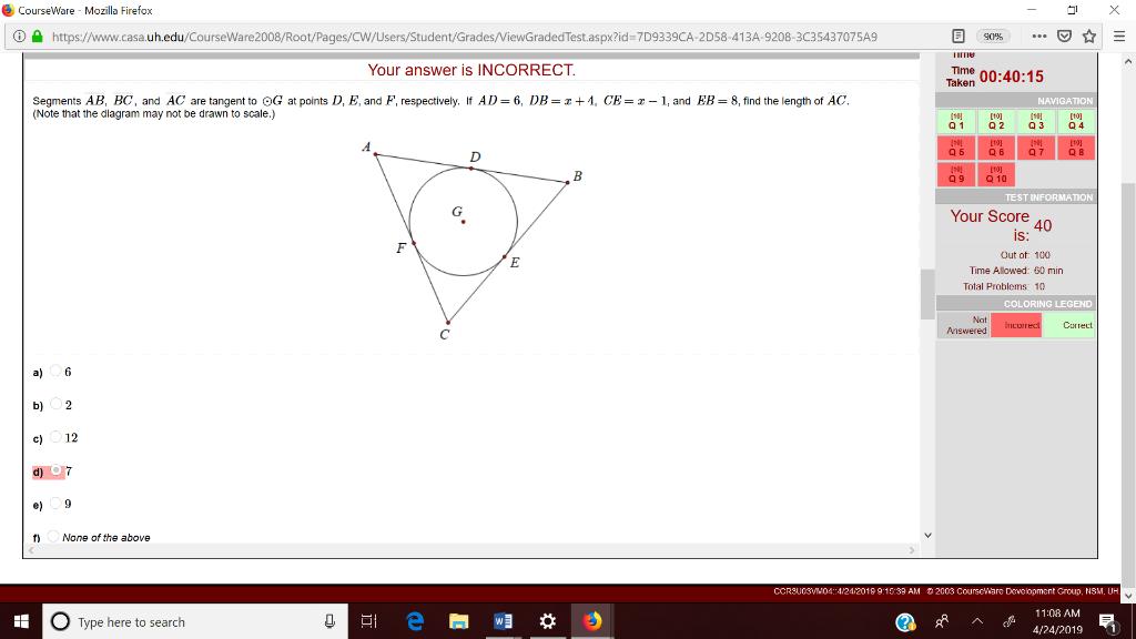 Solved: CourseWare - Mozilla Firefox ⓘe D=7D9339CA-2D58-41