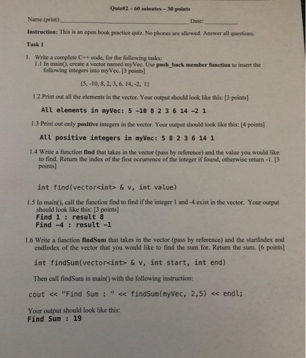 Solved: Quiz#2-60 Minutes-30 Points Name (print): Instruct