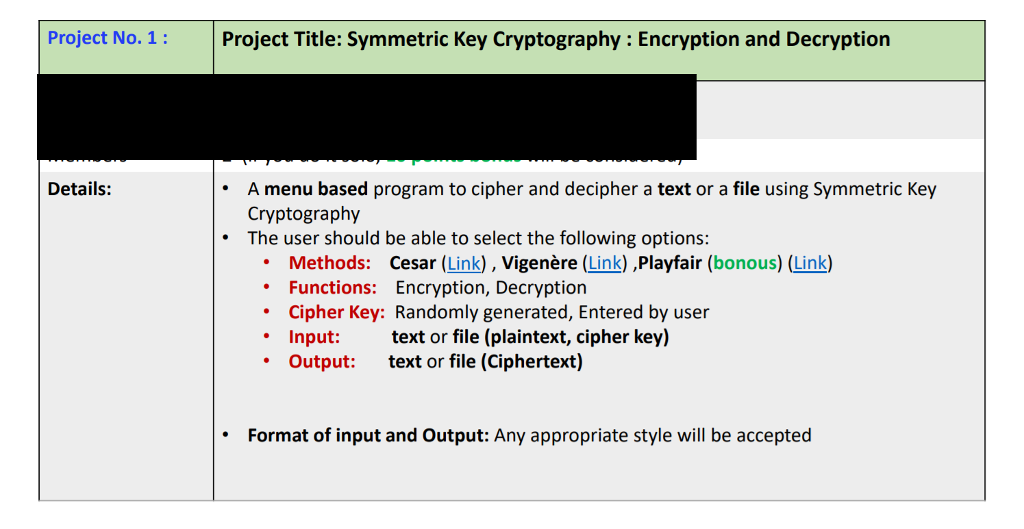 Solved: Project No  1 Project Title: Symmetric Key Cryptog