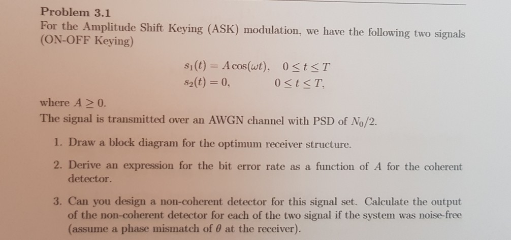 Solved: Problem 3 1 For The Amplitude Shift Keying (ASK) M