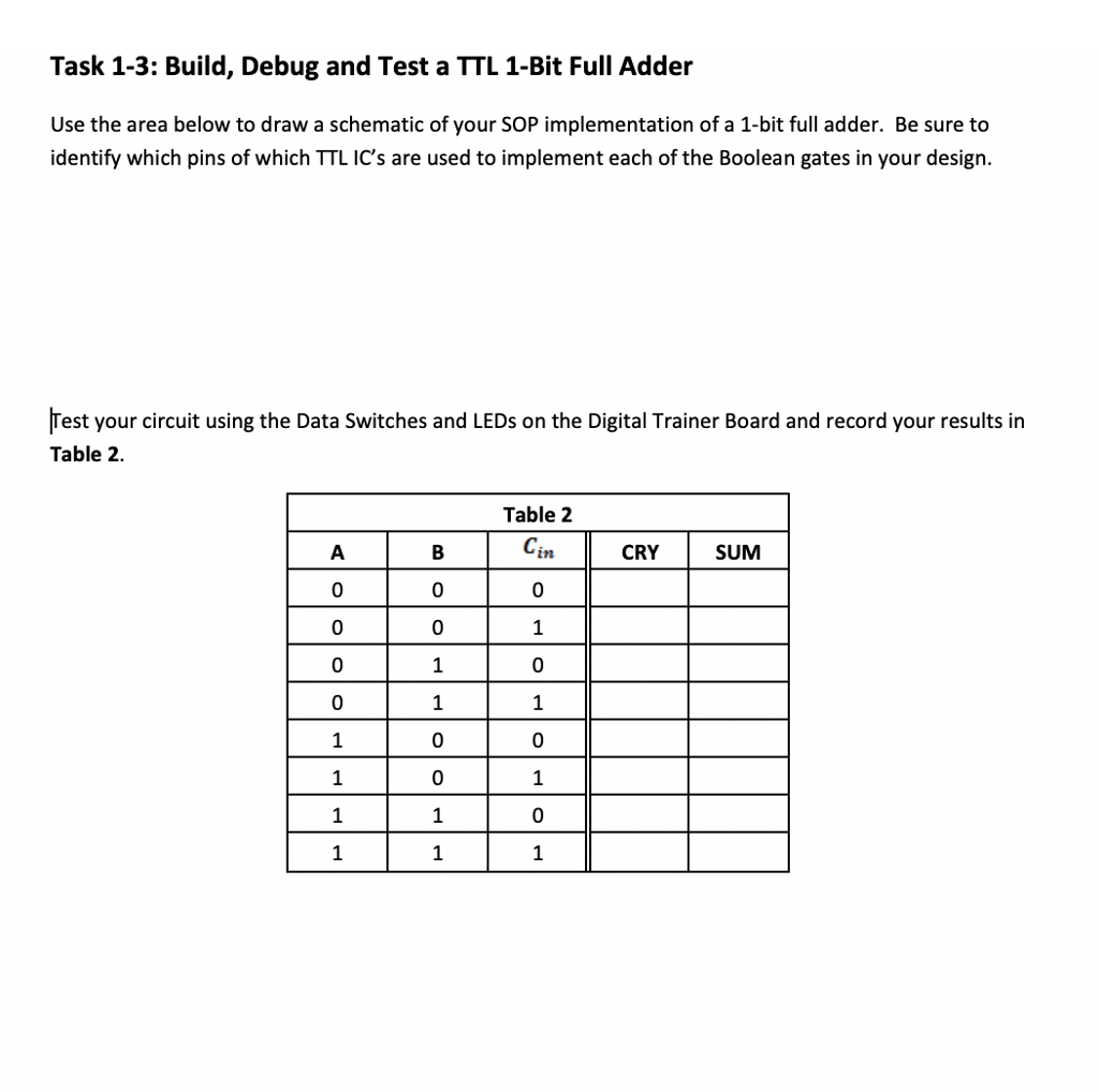 Solved Task 1 Build And Test The Sum Cry Of Bi Circuit Diagram For Half Adder See More Show Transcribed Image Text Bit Follow Testing Procedures Outlined In Laboratory