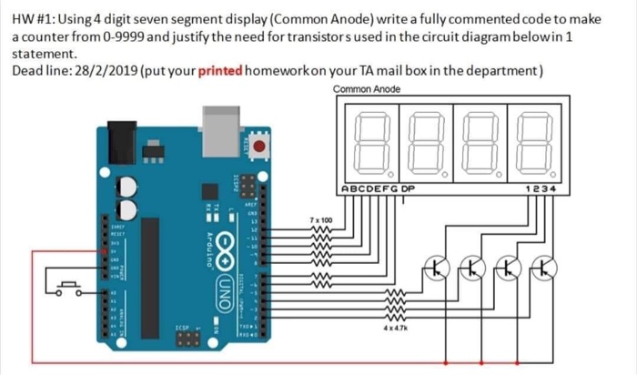 Solved: HW #1: Using 4 Digit Seven Segment Display (Common