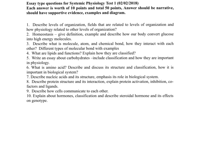 Solved: Essay Type Questions For Systemic Physiology Test ...