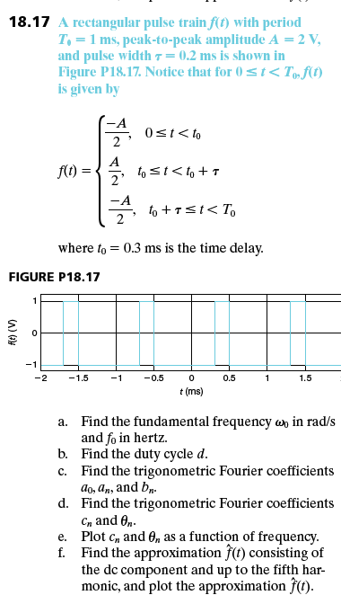 5175cc1bf9fd Solved: 18.17 A Rectangular Pulse Train Ft) With Period 7 ...