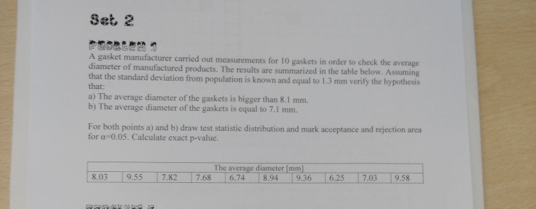 Set, 2 668 et manufacturer carried out measurements for 10 gaskets in order to check the average diameter of manufactured products. The results are summarized in the table below. Assuming that the standard deviation from population is known and equal to 1.3 mm verify the hypothesis that: a) The average diameter of the gaskets is bigger than 8.1 mm. b) The average diameter of the gaskets is equal to 7.1 mm. For both points a) and b) draw test statistie distribution and mark acceptance and rejection area for α-0.05. Calculate exact p-value. The average diameter mm] 8.039.55 7.82 7.686.74 894 9.36 6257.03 9.58