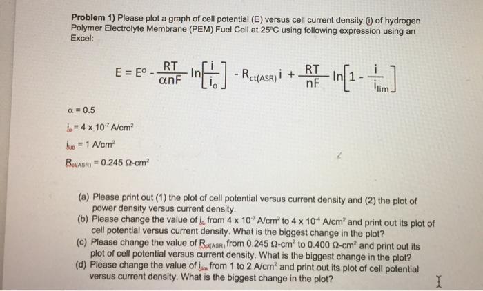 problem 1 please plot a graph of cell potential chegg com