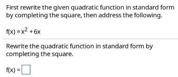 Solved First Rewrite The Given Quadratic Function In Stan