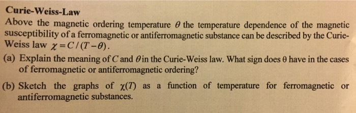 Solved: Curie-Weiss-Law Above The Magnetic Ordering Temper