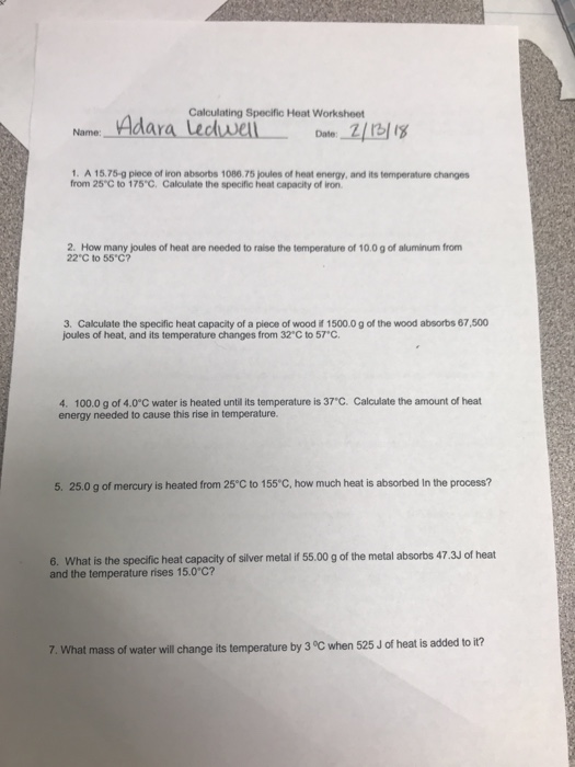 Solved Calculating Specific Heat Worksheet Name Dar 1 A