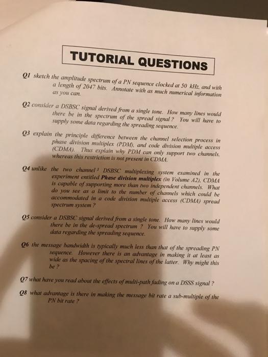 TUTORIAL QUESTIONS QI Sketch The Amplitude Spectru    | Chegg com