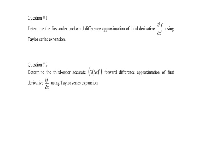 Solved: Question # 1 Determine The First-order Backward Di