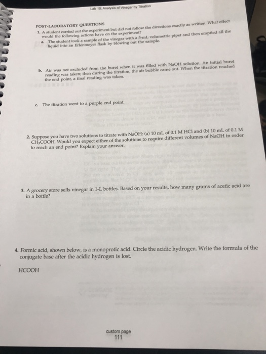 Solved: Lab 10 Analysis Of Vinegar By Thration POST-LA BOR