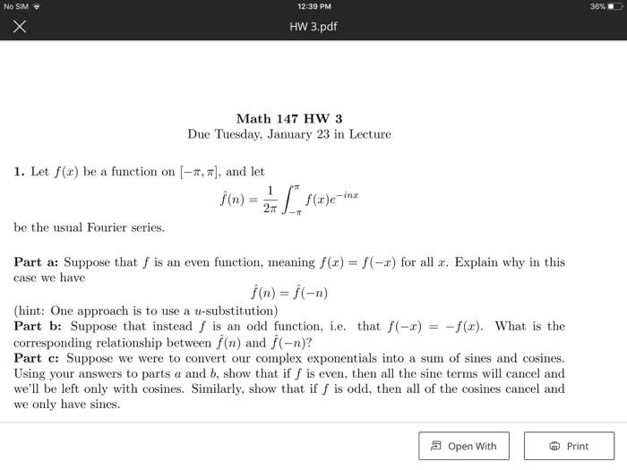 Solved: No SIM 12:39 PM 36%   HW 3 pdf Math 147 HW 3 Due T