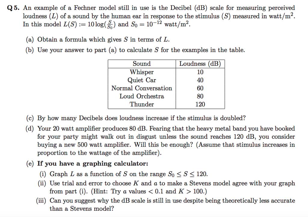 An example of a Fechner model still in use is the Decibel (dB