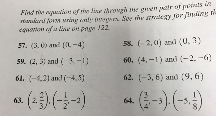 Solved Find The Equation Of The Line Through The Given Pa