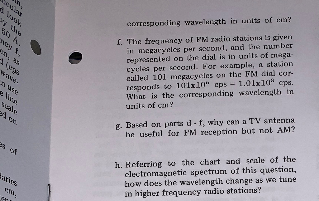Solved: Corresponding Wavelength In Units Of Cm? In Megacy