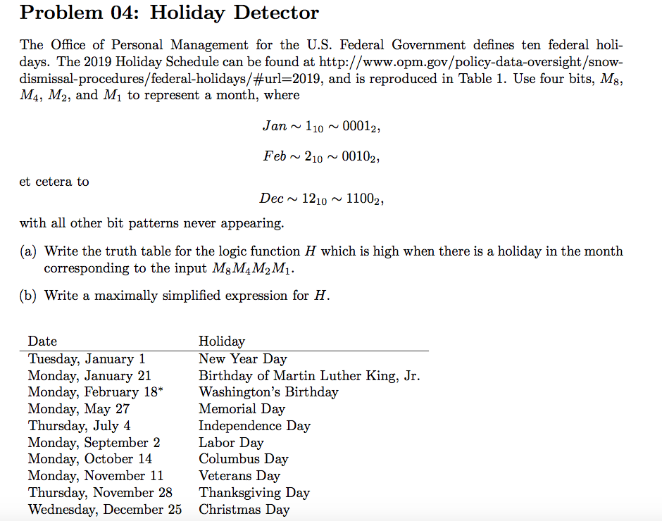 Federal Holiday Christmas 2019.Solved Problem 04 Holiday Detector The Office Of Persona