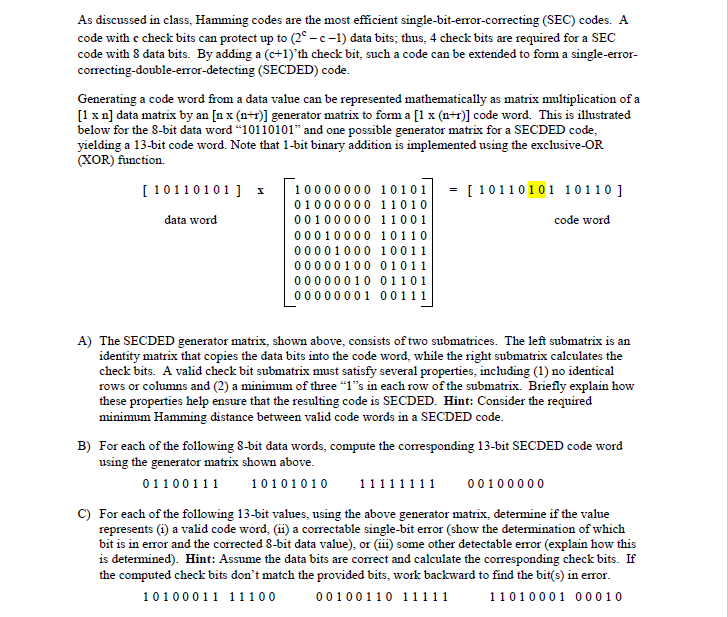 Solved: As Discussed In Class, Hamming Codes Are The Most