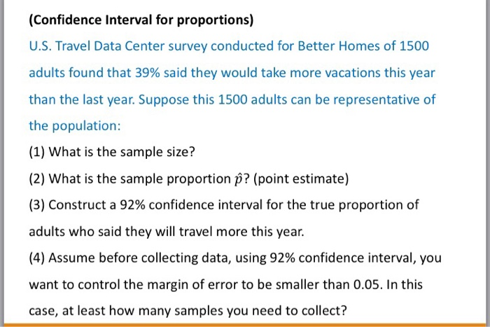Confidence Interval For Proportions US Travel Data Center Survey Conducted Better Homes Of