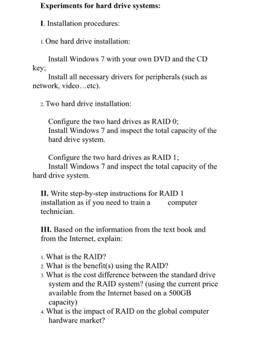 Experiments For Hard Drive Systems I Installation Procedures 1One