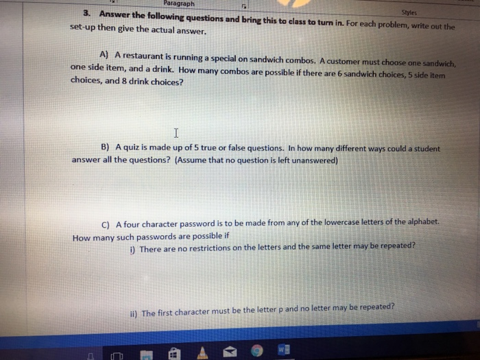 Solved: Answer The Following Questions And Bring This To C
