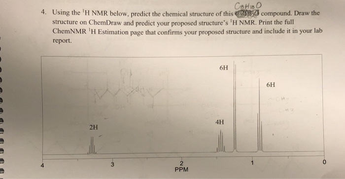 Solved: Сон 1,0 4  Using The 'H NMR Below, Predict The Che