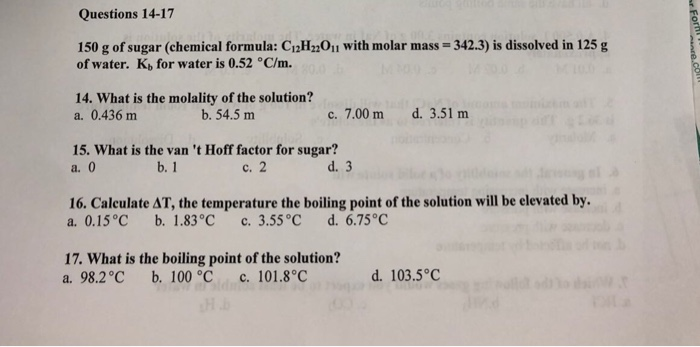Solved Questions 14 17 150 G Of Sugar Chemical Formula