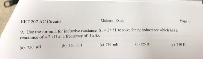 Solved: Use The Formula For Inductive Reactance X_L = 2 Pi