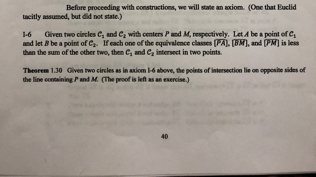 Before proceeding with constructions, we will state an axiom. (One that Euclid tacitly assumed, but did not state.) I-6 Given