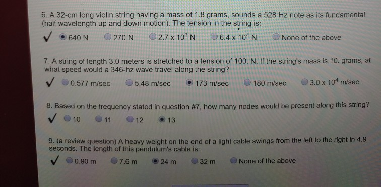 Solved: 6  A 32-cm Long Violin String Having A Mass Of 1 8