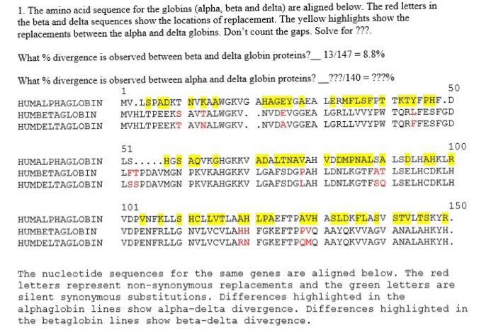 Solved 1 The Amino Acid Sequence For The Globins Alpha