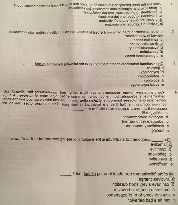 Solved: Name Organizational Behavior Final Exam MULTIPLE C