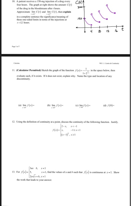 Solved Name Worksheet 11 Limitscontinuity Short Answer