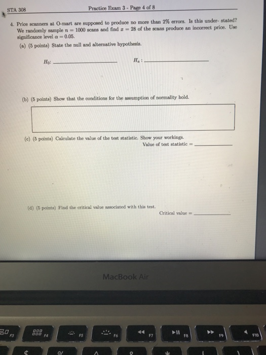 Solved: Practice Exam 3- Page 4 Of 8 STA 308 Stated? 4, Pr