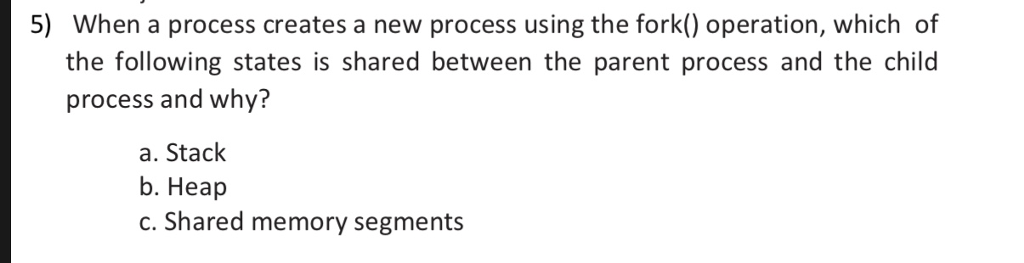 Solved: 5) When A Process Creates A New Process Using The