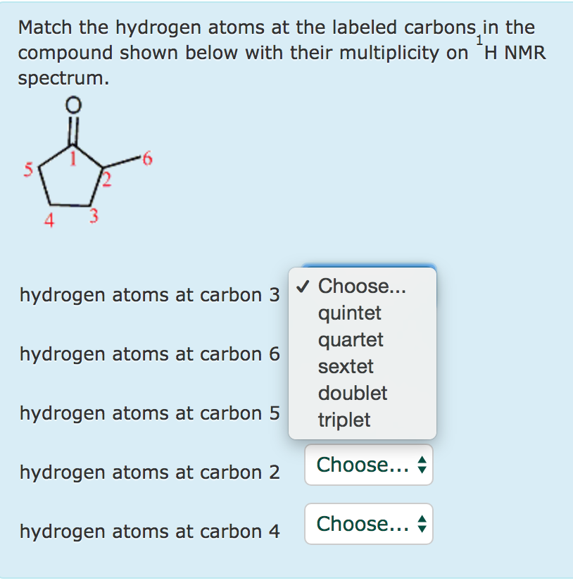Solved: Match The Hydrogen Atoms At The Labeled Carbons In