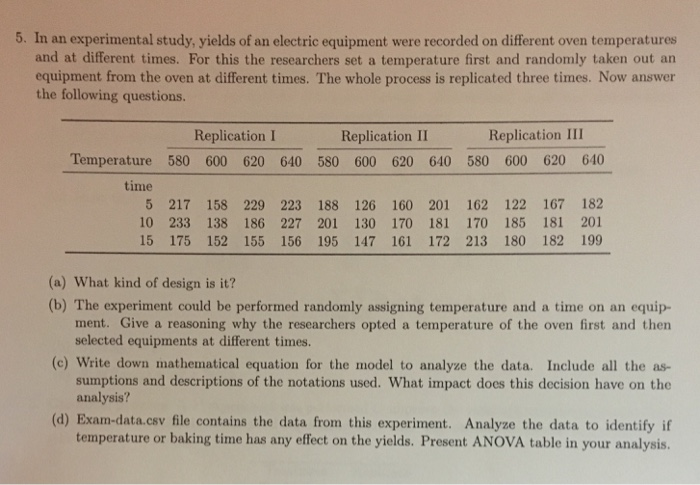 5. In an experimental study, yields of an electric equipment were recorded on different oven temperatures and at different times. For this the researchers set a temperature first and randomly taken out an equipment from the oven at different times. The whole process is replicated three times. Now answer the following questions Replication I Replication II Replication III Temperature 580 600 620 640 580 600 620 640 580 600 620 640 time 5 217 158 229 223 188 126 160 201 162 122 167 182 10 233 138 186 227 201 130 170 181 170 185 181 201 15 175 152 155 156 195 147 161 172 213 180 182 199 (a) What kind of design is it? (b) The experiment could be performed randomly assigning temperature and a time on an equip- ment. Give a reasoning why the researchers opted a temperature of the oven first and then selected equipments at different times. (c) Write down mathematical equation for the model to analyze the data. Include all the as- sumptions and descriptions of the notations used. What impact does this decision have on the analysis? (d) Exam-data.csv file contains the data from this experiment. Analyze the data to identify if temperature or baking time has any effect on the yields. Present ANOVA table in your analysis.