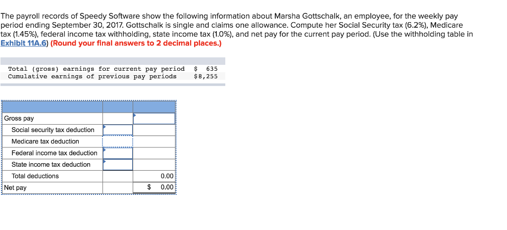 The payroll records of Speedy Software show the following information about Marsha Gottschalk, an employee, for the weekly pay period ending September 30, 2017, Gottschalk is single and claims one allowance. Compute her Social Security tax (6.2%), Medicare tax (1.45%), federal income tax withholding, state income tax (1.0%), and net pay for the current pay period. (Use the withholding table in Exhiblt 11A.6) (Round your final answers to 2 decimal places.) Total (gross) earnings for current pay period Cumulative earnings of previous pay periods 635 $8,255 Gross pay Social security tax deduction Medicare tax deduction Federal income tax deduction State income tax deduction Total deductions 0.00 $ 0.00 Net pay