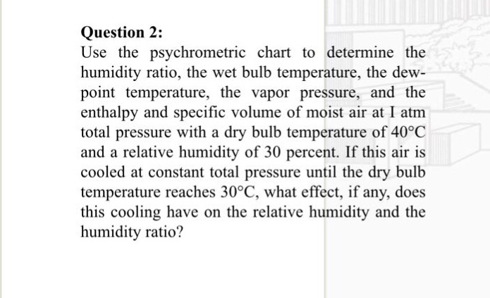 Solved Question 2 Use The Psychrometric Chart To Determi